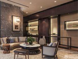 新中式風格客廳裝修隔斷博古架效果