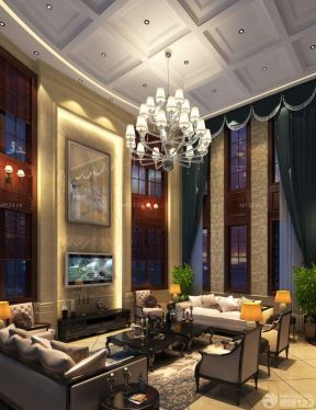 客廳天花吊頂 高級別墅圖片