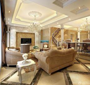 现代欧式客厅效果图 150平米复式楼装修效果图