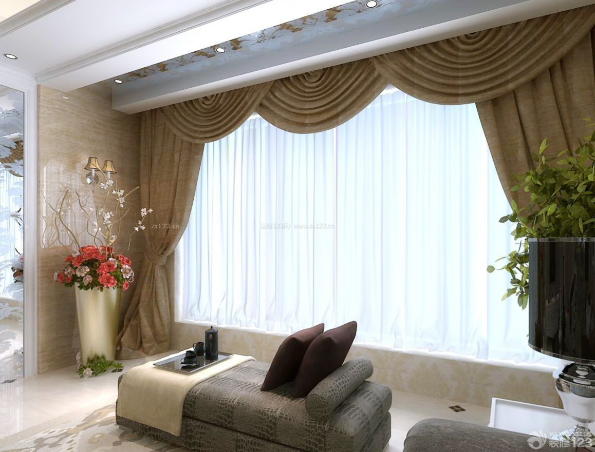 别墅客厅设计阳台窗帘效果图图片