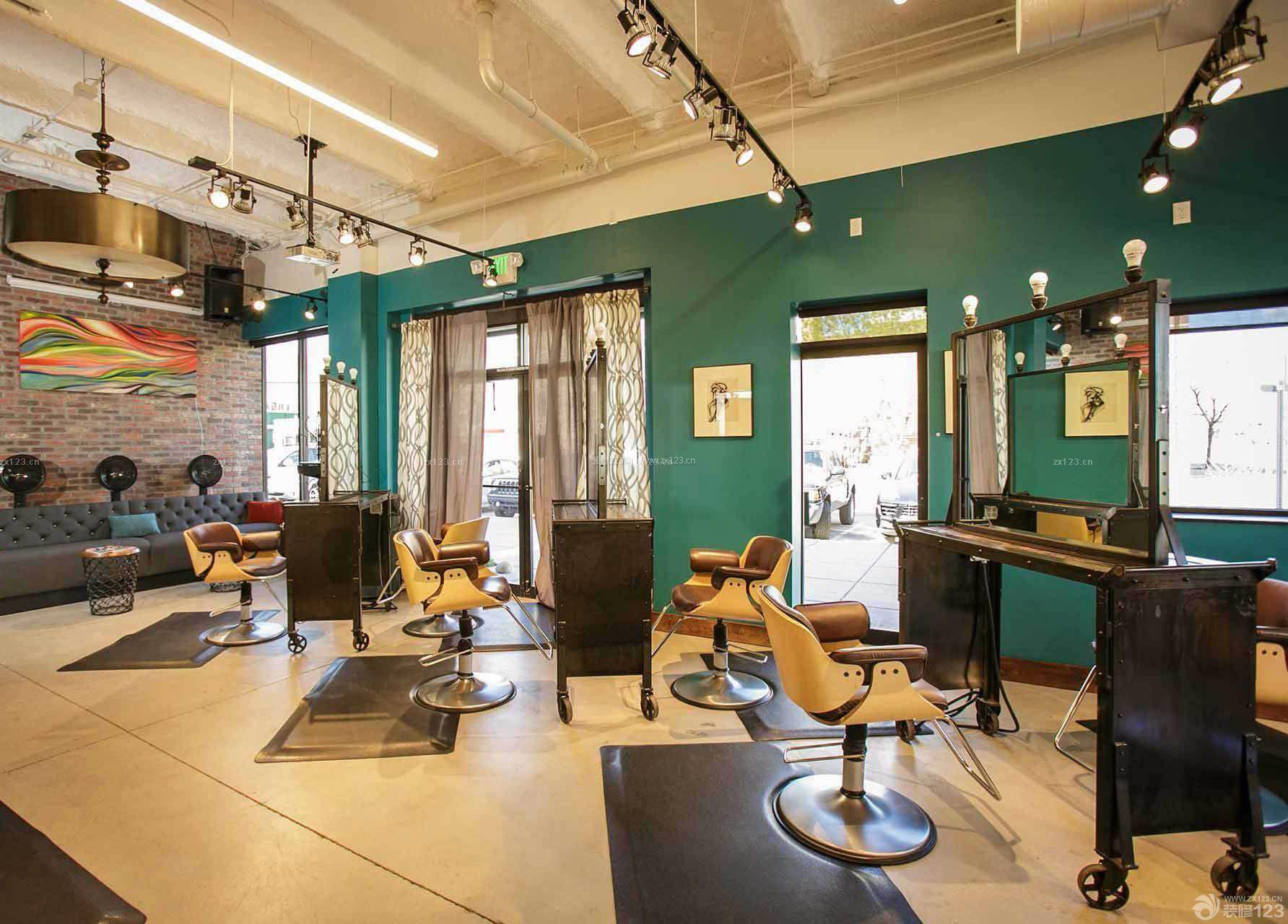 混搭风格理发店室内装修效果图片