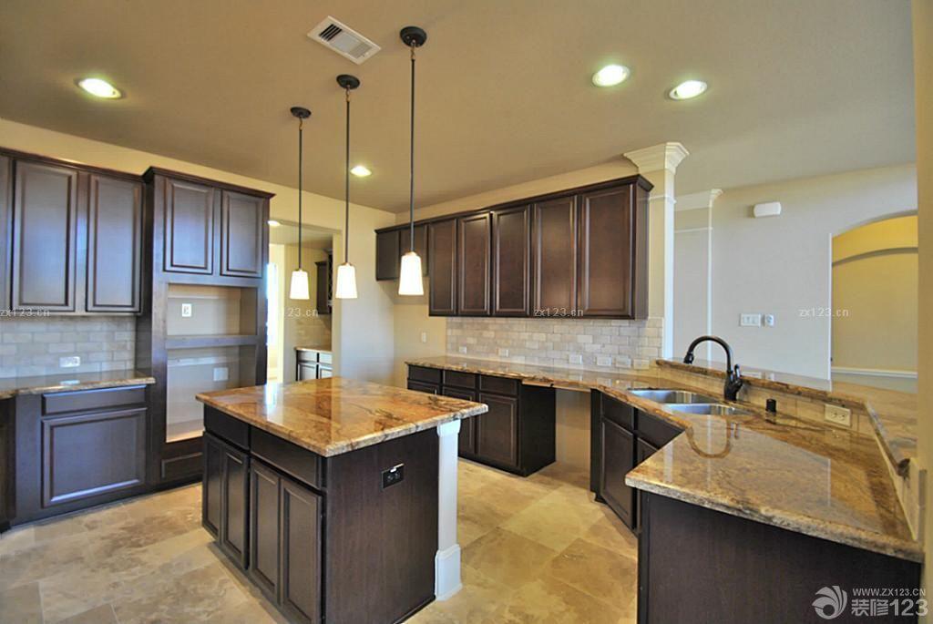 欧式厨房橱柜大理石台面设计效果图