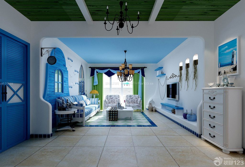 清新地中海室内客厅吊顶效果图