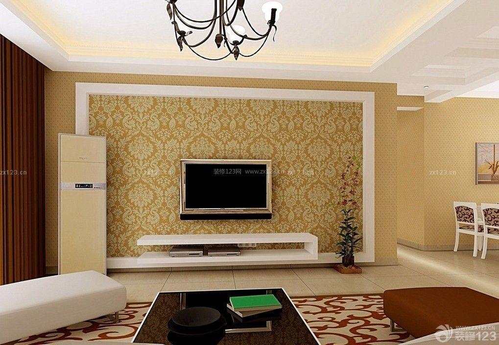 现代中式客厅电视背景墙壁纸装修效果图图片