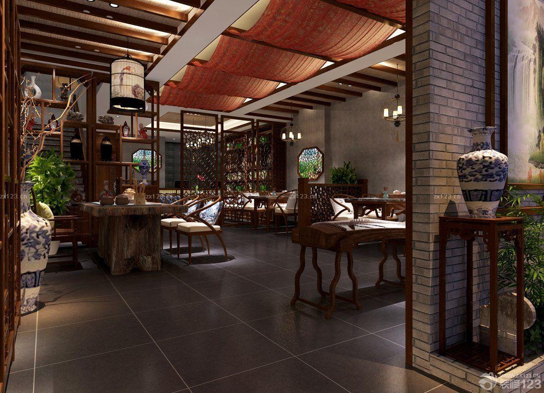 中式茶楼室内背景墙画装修效果图片