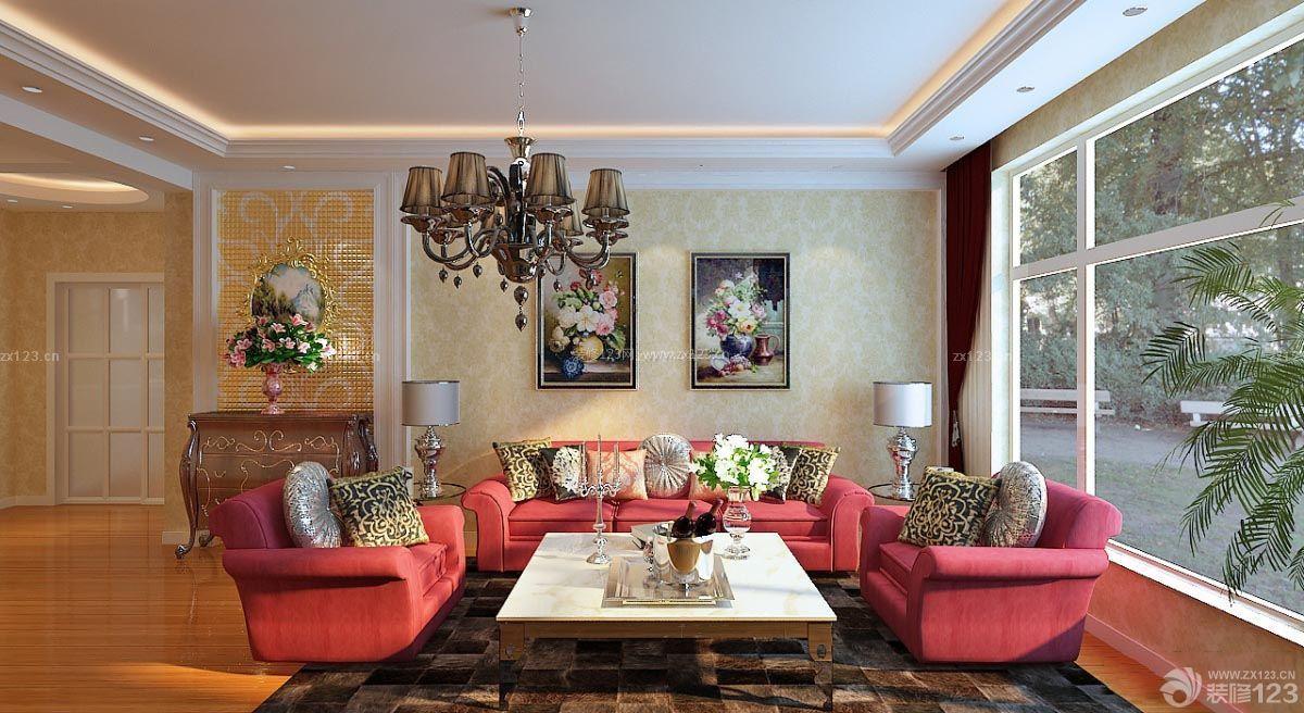 清新欧式客厅天花板吊顶图片_装修123效果图图片