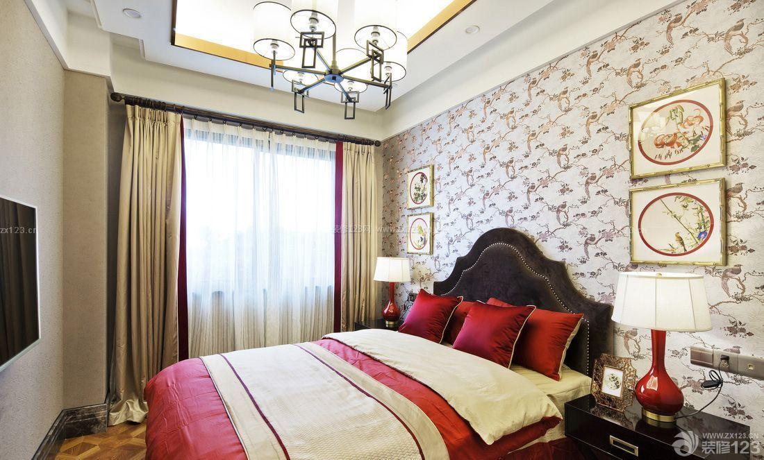 新中式风格卧室墙纸样板间图片