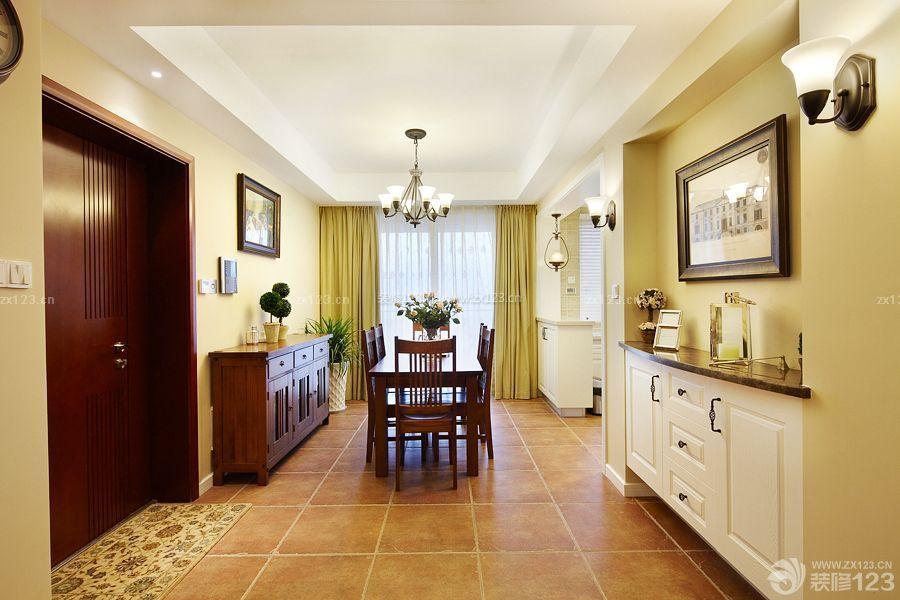 美式家居暖黄色地砖装修效果图片