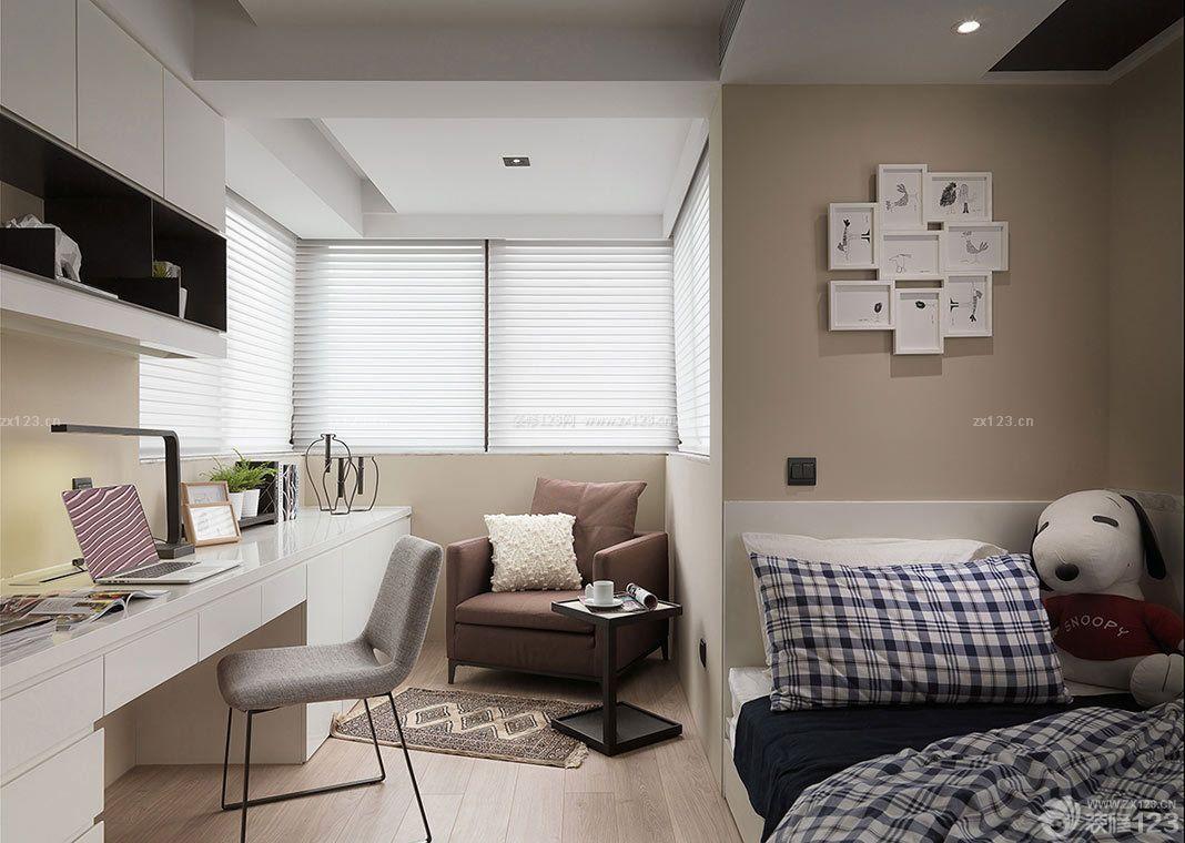现代风格室内书房兼卧室装修效果图