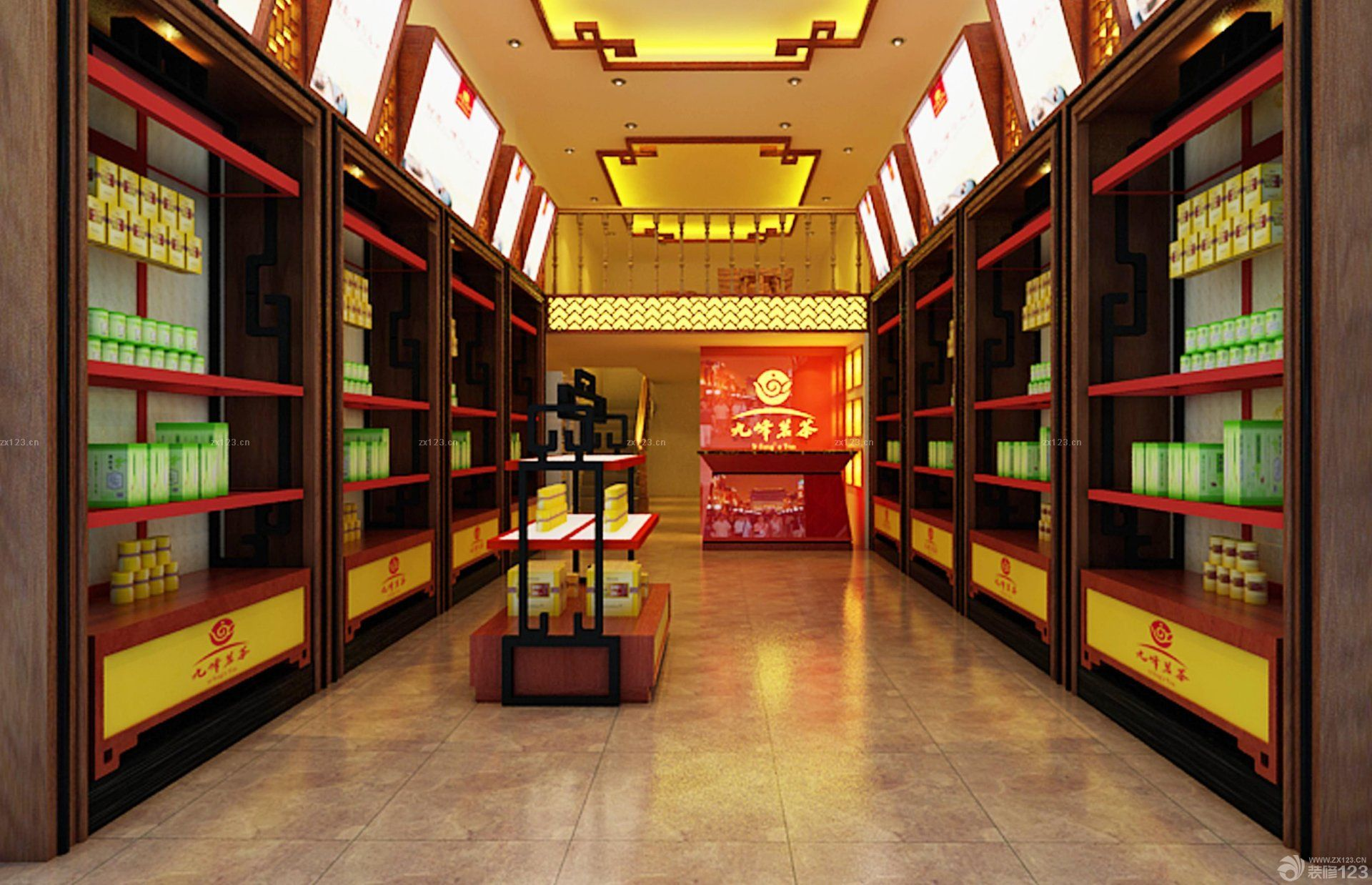 茶叶店面展示架装修效果图片