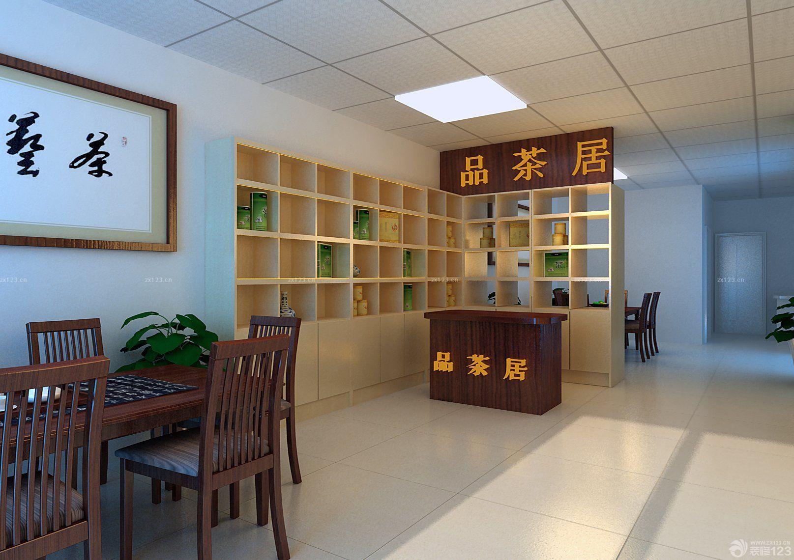 茶叶店面简约室内装修效果图片