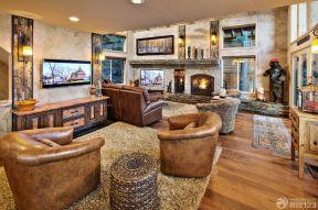 美式復古家具 復式客廳效果圖