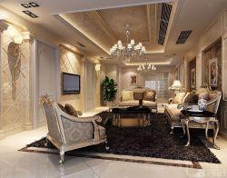 歐式新房客廳石材背景墻設計效果圖