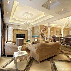 歐式新房客廳浮雕電視背景墻設計效果圖