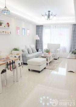 小户型客厅米白色地砖装修效果图片