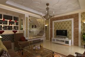 中式樓梯設計 復式客廳效果圖