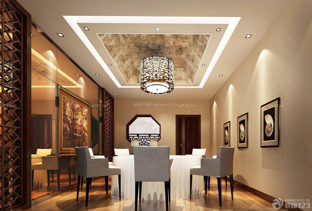 现代中式风格小型饭店包间设计装修效果图