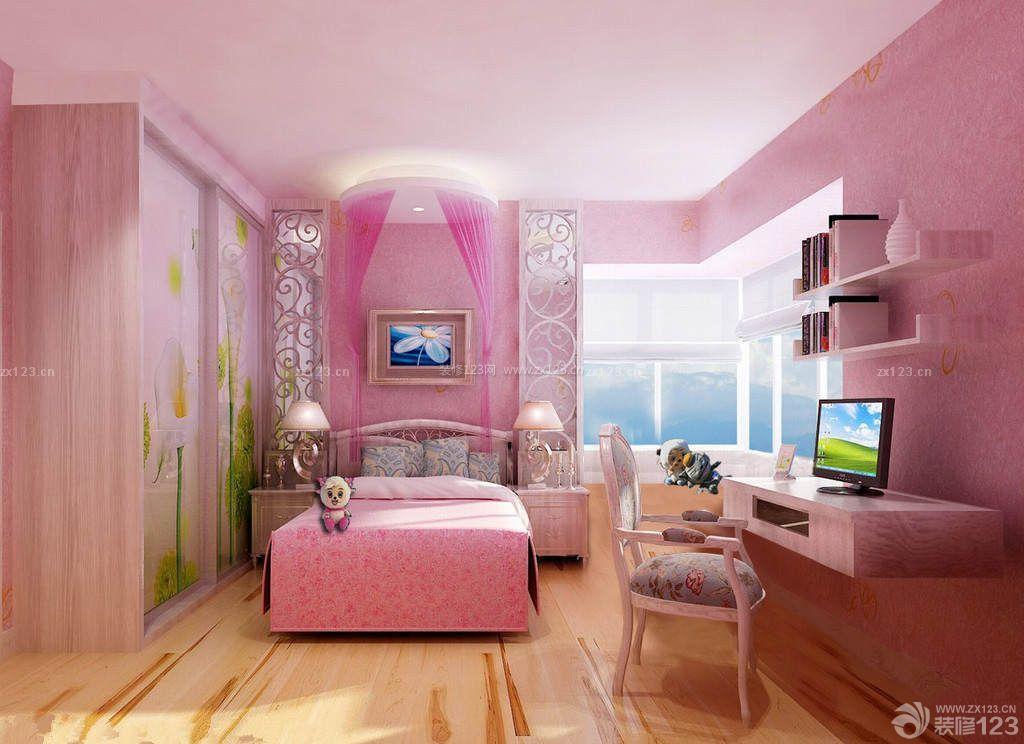粉色儿童小卧室图片