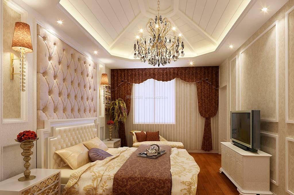 简约欧式风格床头背景墙装修效果图片