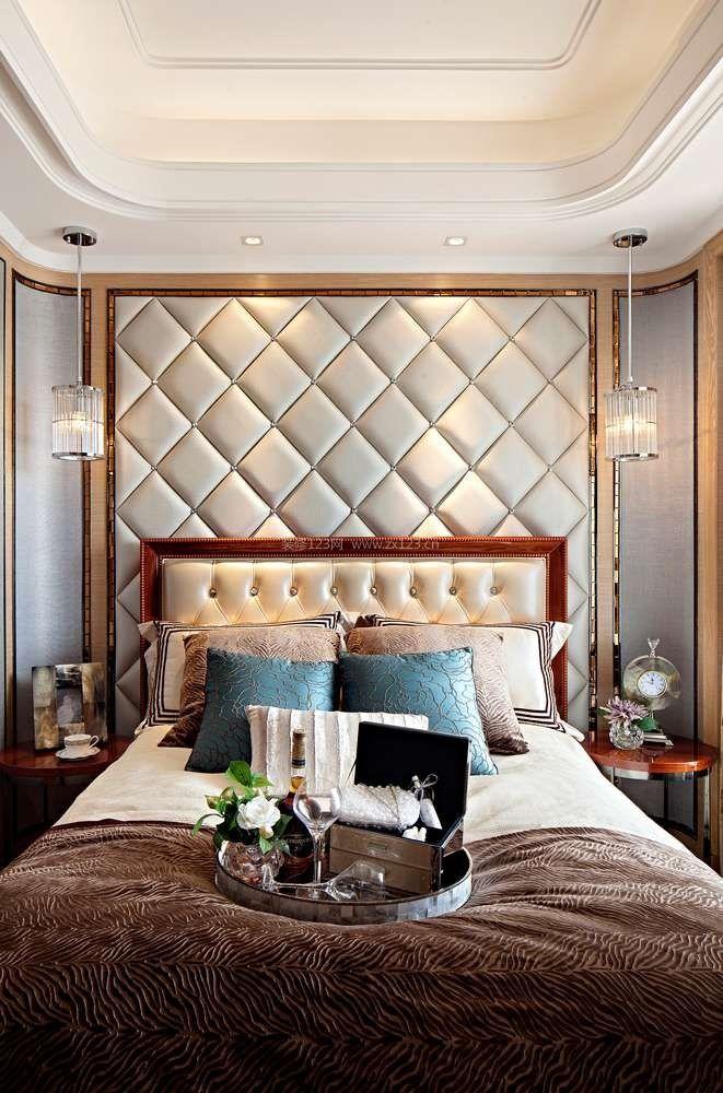 简约欧式风格卧室床头软包背景墙装修效果图