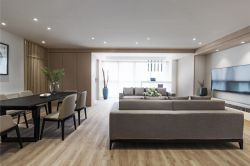 150平米客廳淺褐色木地板裝修效果圖片