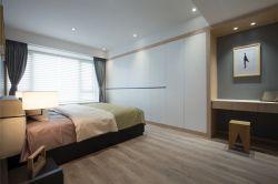 现代时尚卧室灰色木地板装修效果图图片