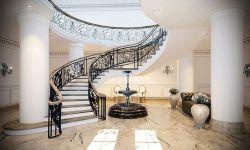 高檔會所豪華別墅樓梯設計效果圖