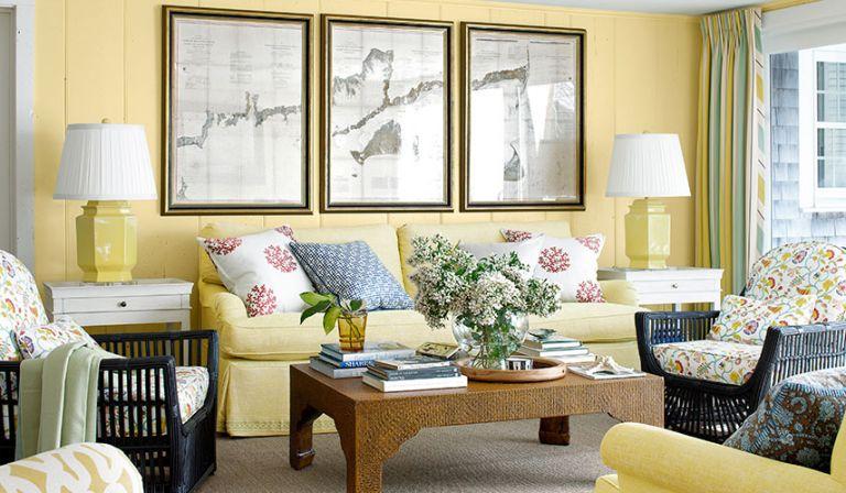 田园家装客厅沙发背景墙装饰画效果图