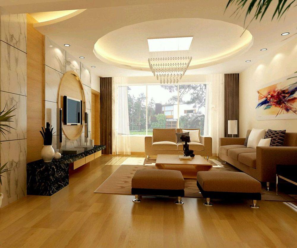 新中式风格20平方客厅圆形吊顶装修图片