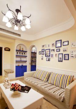 地中海風格客廳照片墻設計效果圖