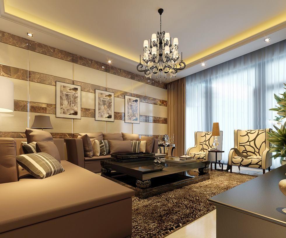 现代简欧客厅微晶石瓷砖背景墙效果图