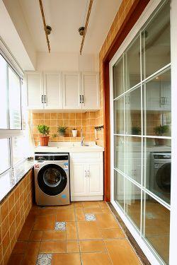 美式风格家装阳台洗衣机装修效果图