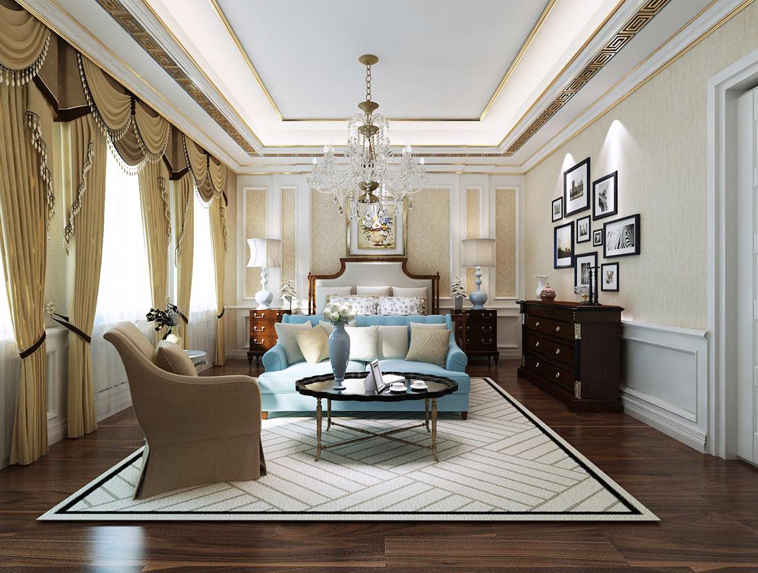 欧式别墅卧室家具摆放设计图