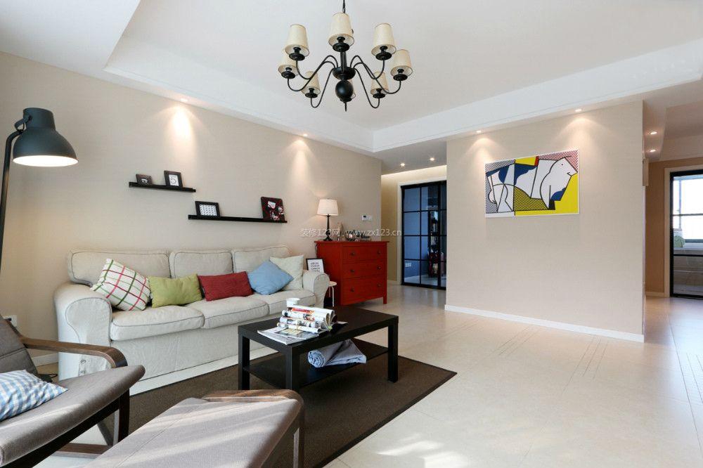 简约客厅布置米白色地砖装修效果图片