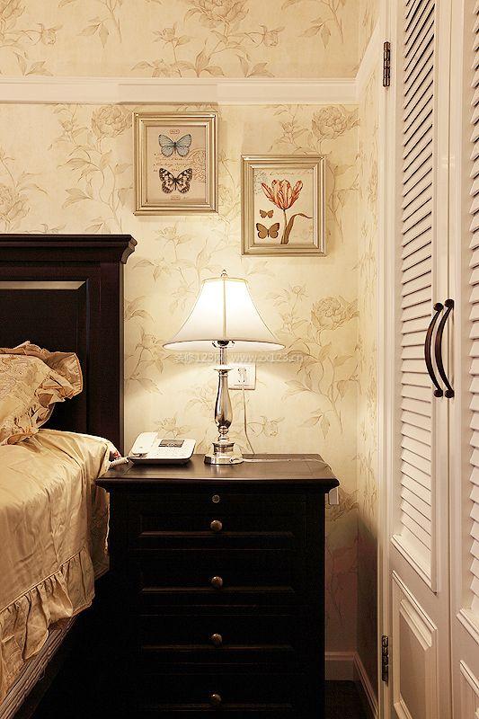 简约美式风格卧室墙纸装修效果图案例