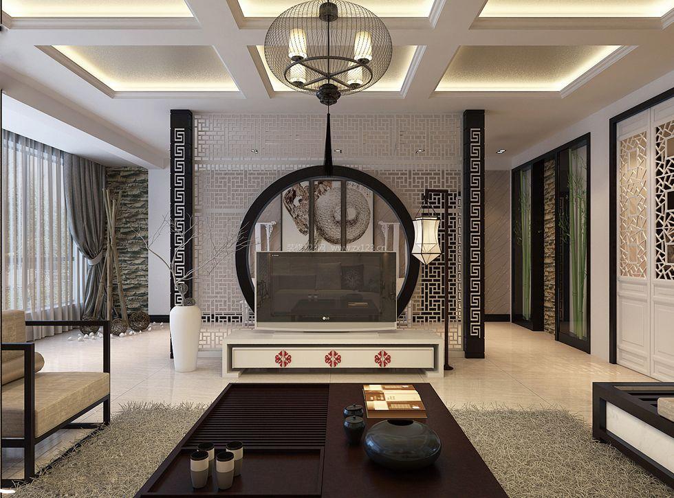 现代中式客厅镂空隔断电视墙效果图