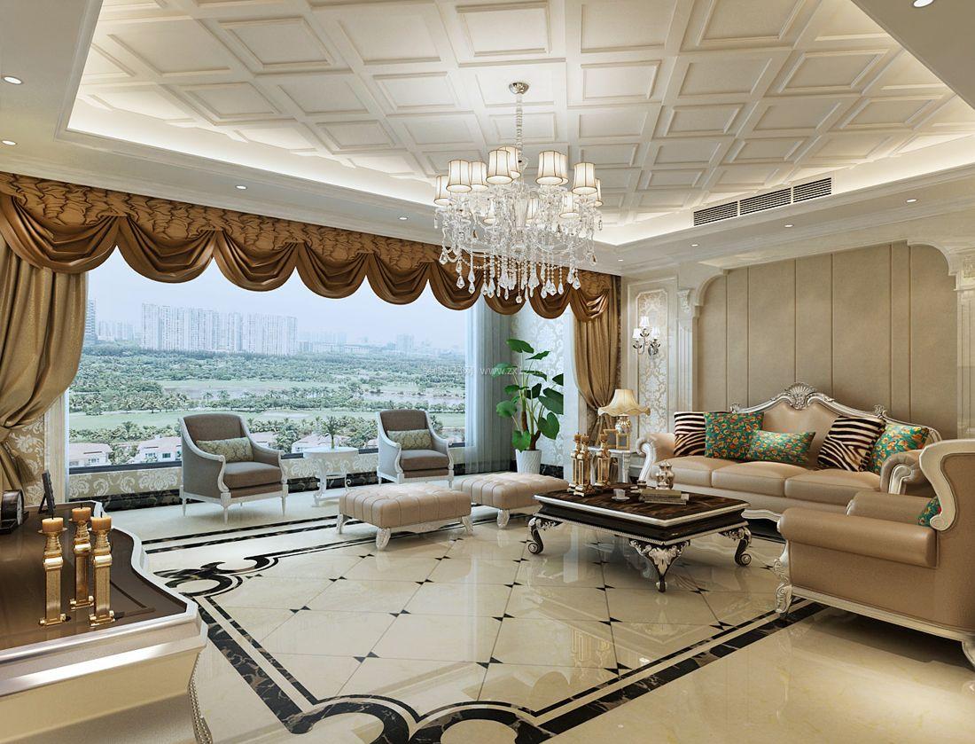 100平米欧式客厅拼花地砖装修效果图片