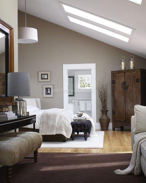 复式房屋卧室斜顶吊顶装修设计效果图