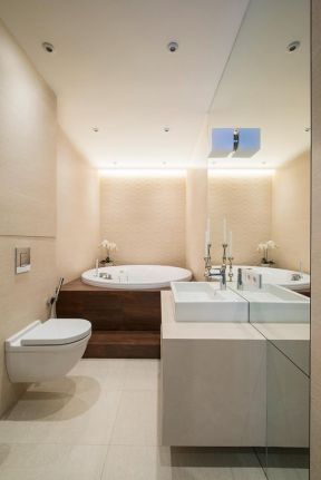 小卫生间圆形浴缸装修效果图片