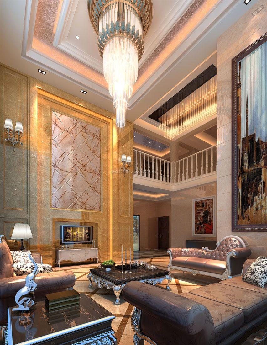 欧式家装别墅客厅吊顶造型图片_装修123效果图图片