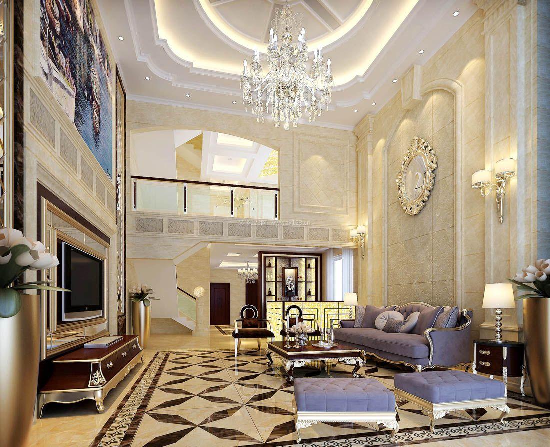 别墅客厅圆形吊顶造型装修效果图片