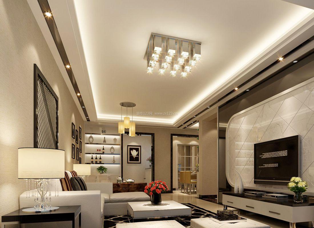 现代简约风格别墅客厅吊顶造型装修效果图片