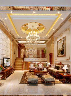 家庭別墅室內客廳吊頂造型設計效果圖片