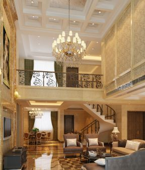 别墅客厅吊顶造型 大型别墅设计