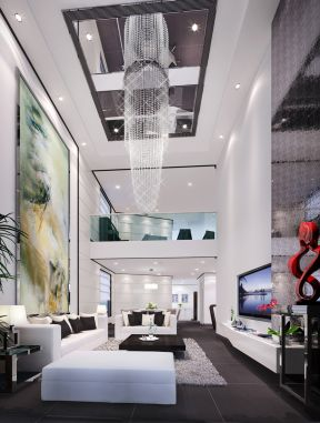 別墅客廳吊頂造型 現代別墅設計效果圖