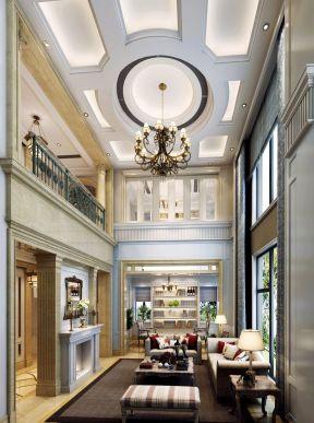 歐式樣板房 客廳吊頂裝飾圖片