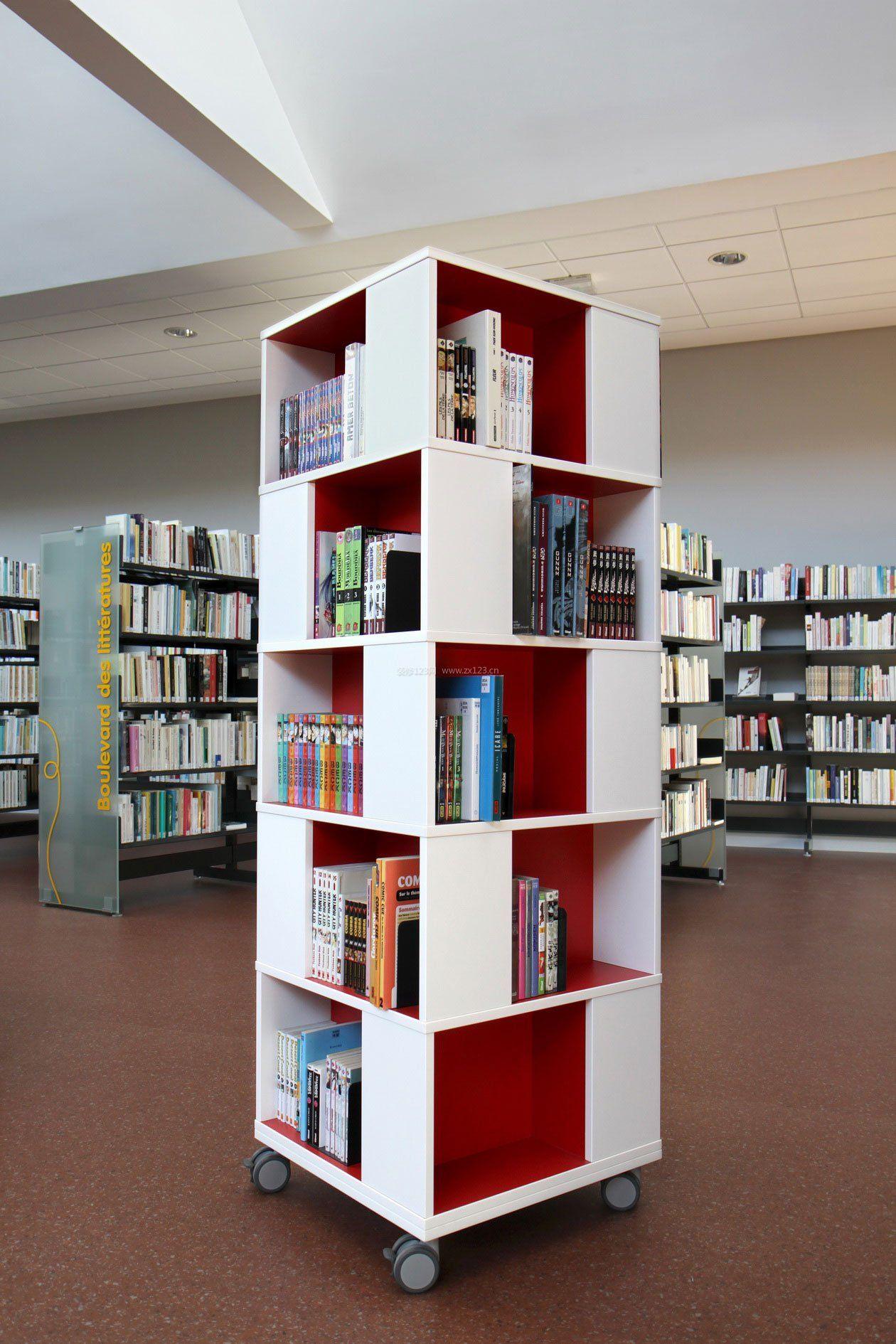 图书馆室内书柜设计效果图大全