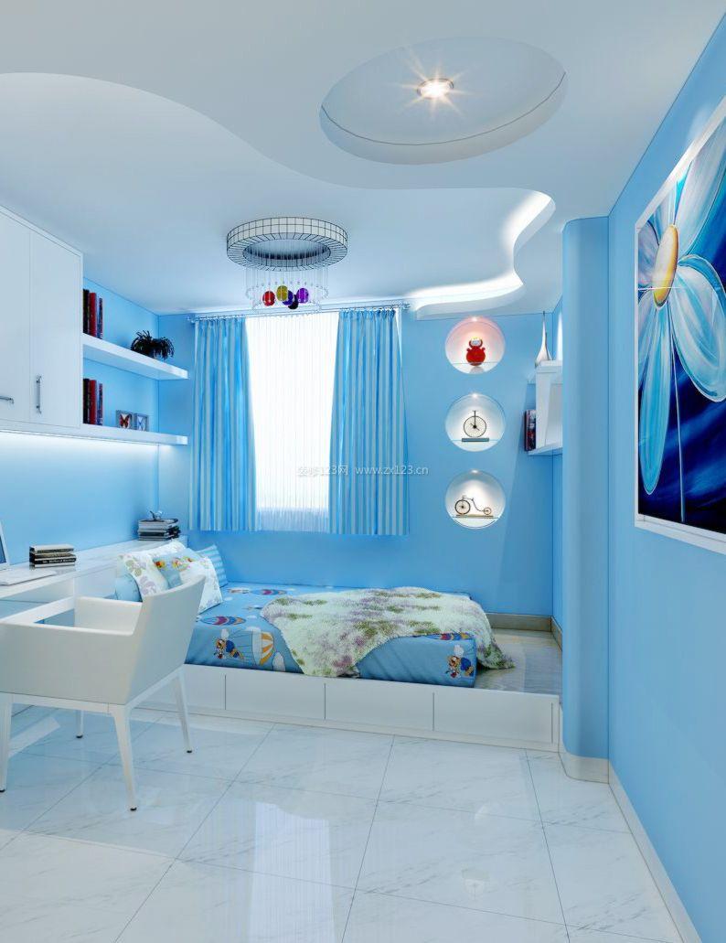 房间设计蓝色墙面装修效果图片