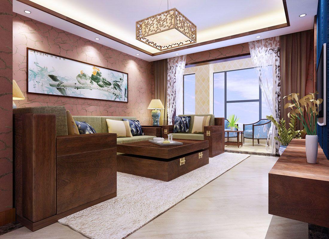 中式风格客厅连接阳台装修装修效果图片