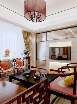 中式小户型客厅风格电视背景墙装修图